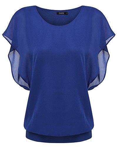 Zeagoo Damen Sommer Casual Loose Fit Kurzarm Fledermaus Batwing T-Shirt Shirt Chiffon Top Bluse, EU 42(Herstellergröße:XL), Blau
