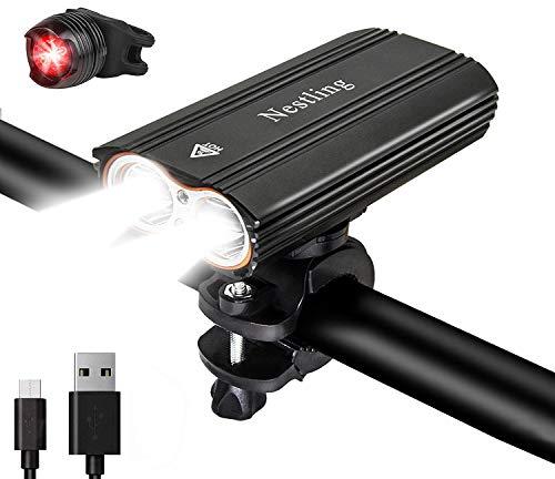 Nestling LED Fahrradlicht USB aufladbar Set,Ultra Hellen Wasserdicht 2400 Lumen Sport und Rücklicht einfach zu montieren, Kombination für Nachtfahrer,Radfahren und Camping