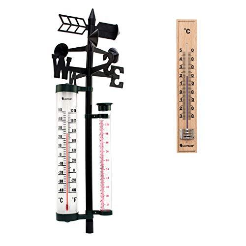 Lantelme Analog Wetterstation mit Thermometer Regenmesser Windrichtung und Holzthermometer Set für Außen Garten 7584