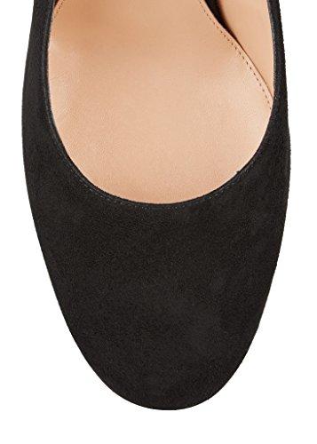 EDEFS - Scarpe col Tacco - Decolleté Chiuse Donna - Elegante Alto 10cm - Tacco a Blocco Blacksuede