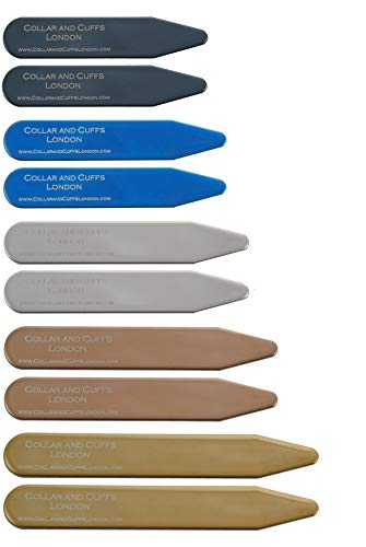 """COLLAR AND CUFFS LONDON - 10 Stilvolle Kragenstäbchen - Metall - 5 Farben 5 Größen - 2\"""" 2.2\"""" 2.35\"""" 2.5\"""" 2.8\"""" - Silber Schwarz Gold Blau Roségold Farben - Hochwertig - Mit Kunststoffbox - 5 Paare"""