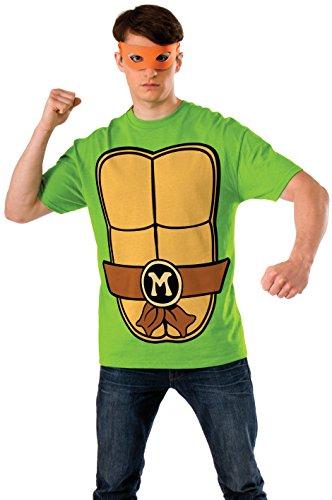 Teenage Mutant Ninja Turtles Michelangelo Erwachsene Kostüm Shirt and Mask Set (Medium)