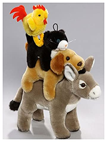 Town Musicians of Bremen Plush, 24 cm long, 33 cm High with Removable Animals with Velcro