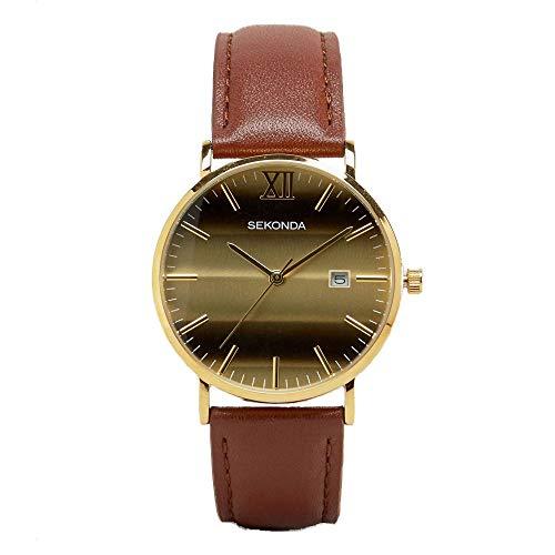 Sekonda 1212–Cinturino in pelle marrone orologio da polso