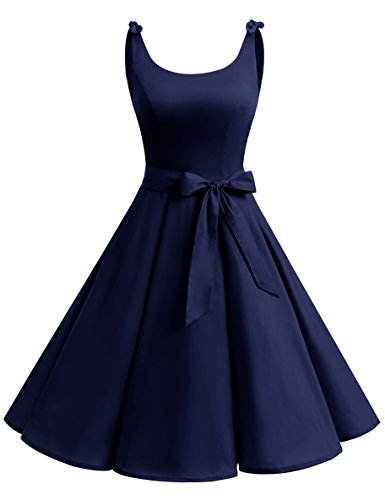 bbonlinedress 1950er Vintage Polka Dots Pinup Retro Rockabilly Kleid Cocktailkleider Navy L
