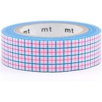 Nastro adesivo Washi mt quadretti blu, rosa neon e bianchi