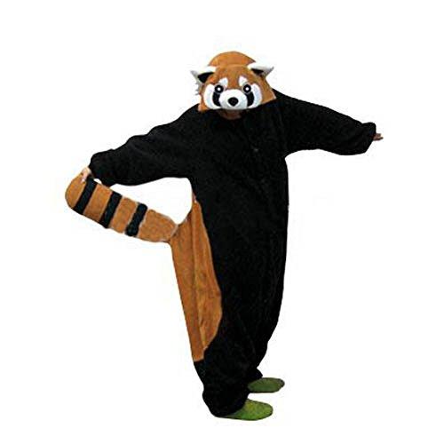 ren Jumpsuit Tier Onesie Einhorn Panda Pinguin Giraffe Pyjamas Jumpsuit Anime Cosplay Karneval Kostüm Schlafanzug Erwachsene (S, Waschbär) ()