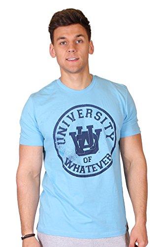 University of Whatever Herren Varsity 1 colour T Shirts - Kuschelige T Shirt für Männer (Himmelblau, S) (CV3001)