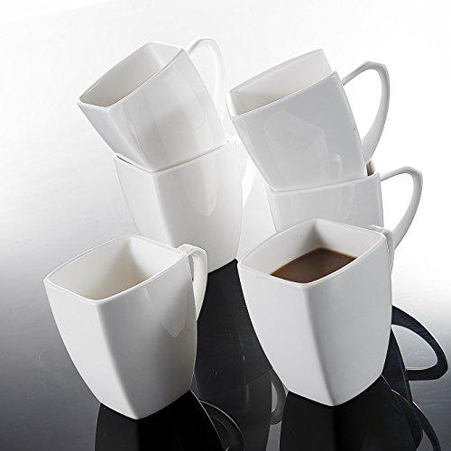 Malacasa, Serie Blance, 6 tlg. Set Kaffeeservice Porzellan 350ml Becher Bechersets Kaffeetasse...