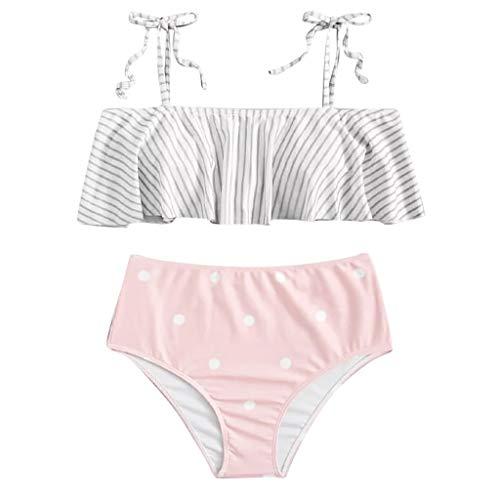 JUSTSELL ▾ Split Badeanzug Damen, EIN-Schulter-Rüsche Split Badeanzug Gestreifter Badeanzug Karierter Badeanzug Sexy Brasilien Bikini Push Up Bademode Hohe Taille Bikini Zweiteiler