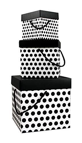 Emartbuy Set Von 3 Falten Funkeln Quadratische Präsentations Geschenkbox Tupfen Drucken, Weiß mit Schwarzem Deckel & Ragegriff