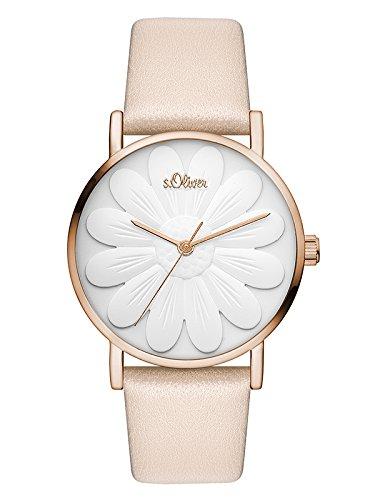 s.Oliver Damen Analog Quarz Uhr mit Leder Armband SO-3470-LQ
