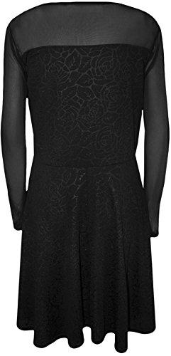 WearAll - Übergröße Netz Long Sleeve Floral Embossed Damen Short Kurzkleid - Übergröße Größen 42-54 Schwarz