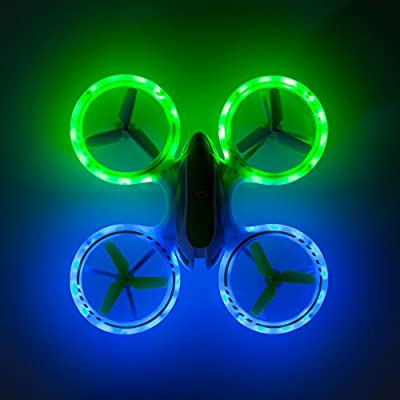 UFO 3000 LED Drone Toy For Boys and Girls - Quadcopter with Ultra Bright LED Lights - Fly In The Dark and Do 3D Flips and Stunts - Includes BONUS Battery