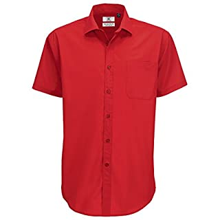 B&C Mens Smart Short Sleeve Shirt / Mens Shirts (M) (Deep Red)