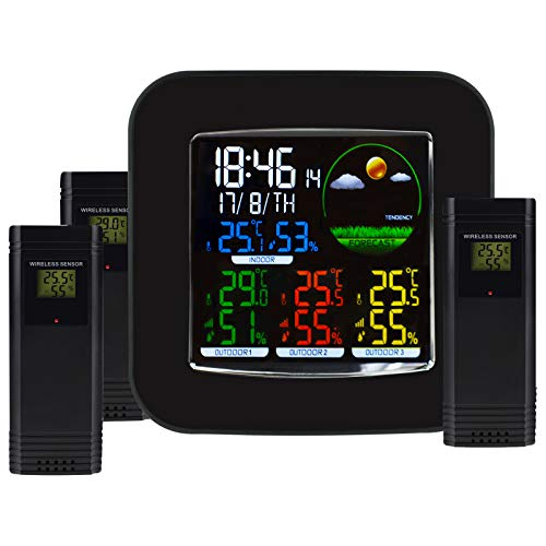 TekcoPlus Funk-farbige Wetterstation DCF RCC Indoor Outdoor Thermometer, Hintergrundbeleuchtung + 3 Sensoren
