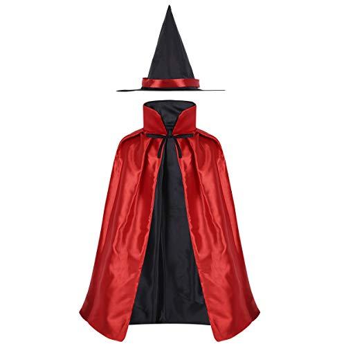 iiniim Kinder Zauberer Kostüm Satin Umhang mit Hexenhut Halloween Fasching Karneval Cosplay Verkleidung (Einheitsgröße, (Zauberer Kostüm Für Mädchen)