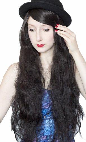 Prettyland C372 - 70cm Perruque noire - effet naturel - légèrement bouclée – coupe africaine
