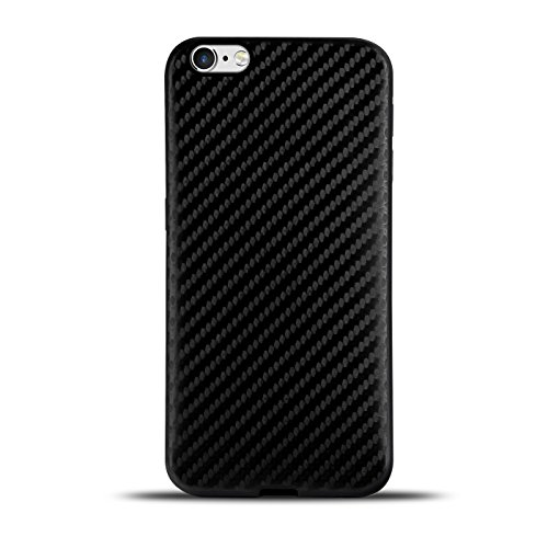 Ultraslim TPU Backcover - Case in Carbon Look für - Apple iPhone 4 - Rückschale Bumper aus Silikon Farbe: Schwarz Schwarz