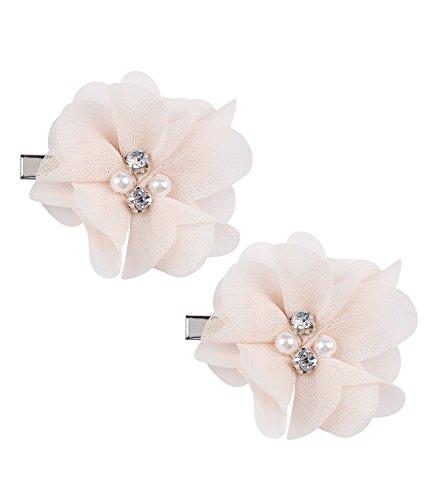 SIX Hochzeit Damen Haarspange, Haar Clip, Duck Clip, Haarschmuck, Blume, Blüten, Weiß mit Perlen und Strasssteinen (24-602)