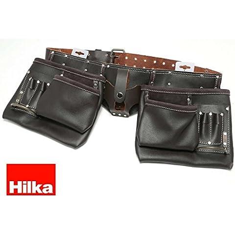 Hilka 77705002 resistente piel curtida al aceite cinturón doble para herramientas