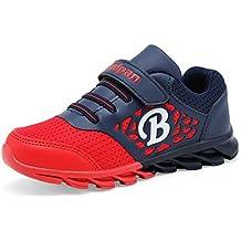 Sintética chicos resorte moderno transpirable y malla de cordones y velcro de goma plana suela antideslizante zapatos cómodos ocasionales de la zapatilla de deporte