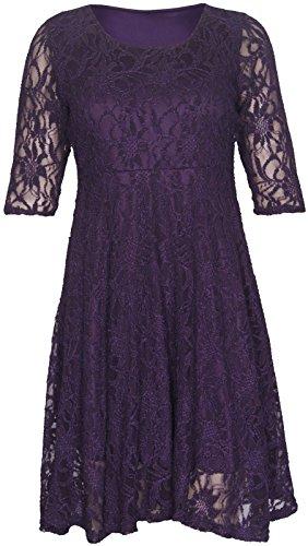 Neuf pour femmes manches 3/4évasé Swing Skater Taille plus Robe de fête 14–28 Violet - Violet