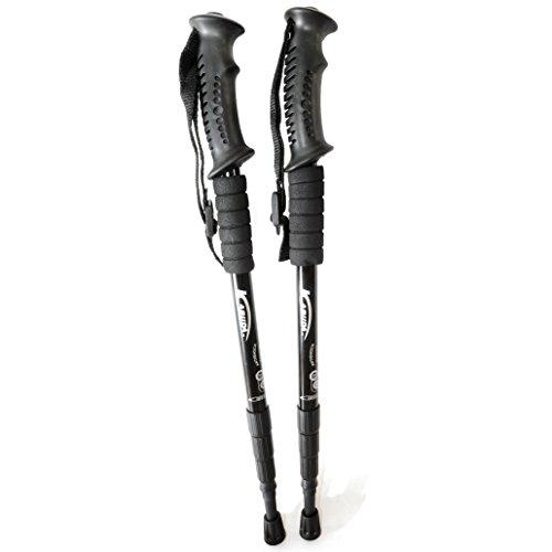 Nordic Walking Stöcke aus widerstandsfähigem Aluminium mit Anti-Shock Dämpfungssystem, Multifunktionsstöcke größenverstellbar 50cm - 110cm (Teleskopstöcke) Farbe: schwarz - Marke Ganzoo