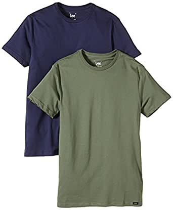 Lee Men's Twin Pack Slim Fit Crew Neck Short Sleeve T-Shirt, Multicoloured (Mix Ss Navy/Olive), Small