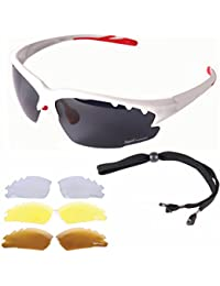 Rapid Eyewear Luna White UV POLARISED SPORTS SUNGLASSES For Men & Women With Interchangeable Tinted & Clear Lenses. Anti Fog Flash Mirror Lenses. Ideal Glasses For Cycling, Running, Athletics