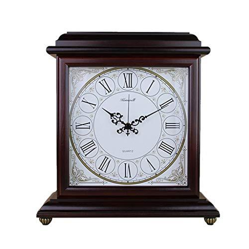 HYLH Relojes de Chimenea Familiares Reloj de Mesa Retro de Dos Caras Reloj de Mesa de Madera silencioso...