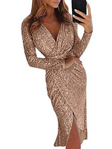Minetom Damen Abendkleider V-Ausschnitt Sexy Cocktailkleid Hochzeit Pailletten Glänzend Hoch Partykleider Langarm Festlich Kleid Ballkleid A Gold DE 38