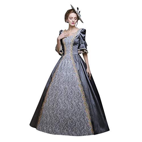 YueLove Damen 1/2 Ärmel Mittelalter Kleid Gothic Viktorianischen Königin Kostüm Prinzessin Renaissance Bodenlänge Maxi Kleider Medieval Erwachsene Cosplay Karneval Fasching (Professionelle Burlesque Kostüm)