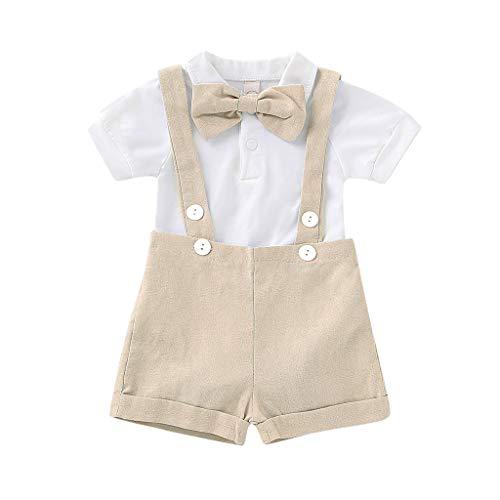Lazzgirl Infant Baby Jungen Gentleman Solide Strampler Hosenträger Strap Shorts Outfits Set(Khaki, Grau, Blau