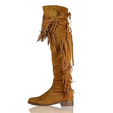 884b9afa7466 New Ladies Over the Knee Fringed Boots Womens Thigh High Tassel Low Heel  Boots Work Winter Western Riding Flat Shoes Size UK 3-8 (UK 6, Camel): ...