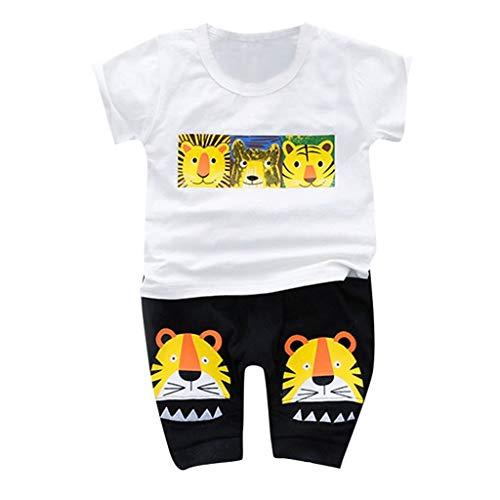 LABIUO 1-3 Jahre Alt Kinderanzug,Baby Mädchen Kleiner Junge Kleidung Cartoon Tier Kurzarm Oberteil Modische Shorts (Cool Cartoon Zeichen Kostüme)