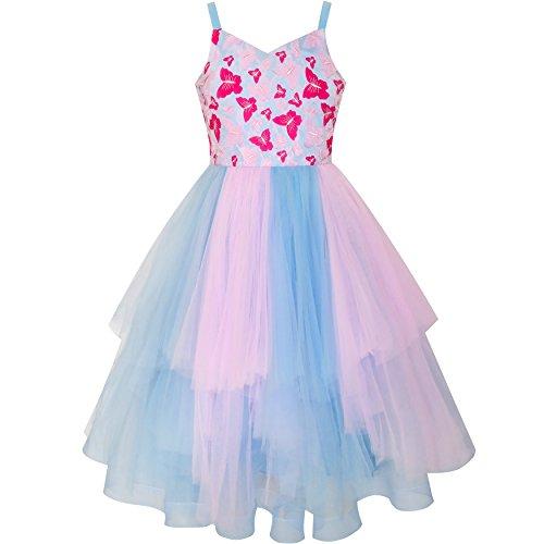 Mädchen Kleid Schmetterling Rosa Blau Skater Ball Kleid Festzug Gr. 110