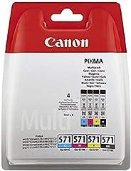 Canon CLI-571 4 Cartuchos de tinta BK/C/M/Y para Impresora de Inyeccion Pixma TS5050,5055,5053,5051,6050,6051,