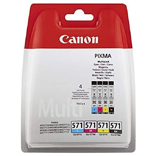 Canon CLI-571 BK/C/M/Y Tintenpatronen Multipack 4x 7ml schwarz/mehrfarbig - 4 Color Multi Pack