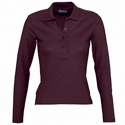 SOLS Podium - Polo 100% coton à manches longues - Femme Bordeaux