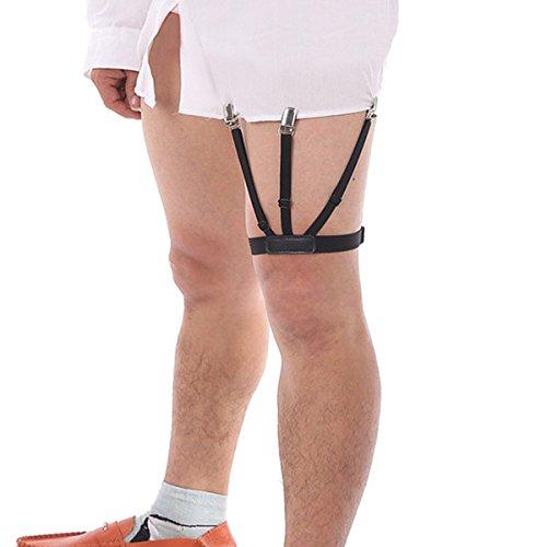 Lana Vels GOLDDUSTPRO Shirt Stays Holder Elastic Garters Belt Non-slip Locking Clamps GARTER ( 1 Pair (2Pcs)) (Black)