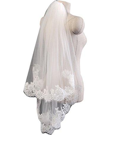 n Hochzeit Schleier Fingerkuppe Länge Brautschleier mit Kamm (Free Size, Weiß) (Kommunion Schleier)