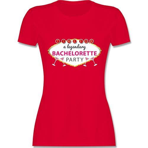 Shirtracer JGA Junggesellinnenabschied - Bachelorette Party Schild - Damen T-Shirt Rundhals Rot