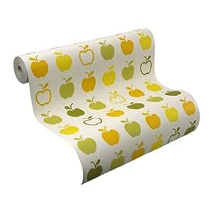 Rasch 816921 papier peint en relief motif cuisine pomme banc vert moderne import allemagne - Papier peint cuisine moderne ...