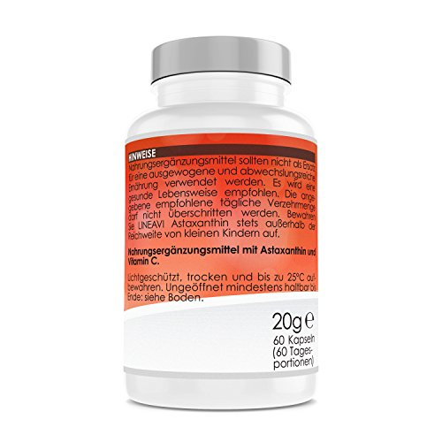 41htpPJl%2BjL. SS500  - LINEAVI Astaxanthin, 4 mg astaxanthin + 40 mg Vitamin C per Capsule, Powerful antioxidant with Anti-inflammatory Properties, Made in Germany, 60 Vegan Capsules (2-Month Supply)