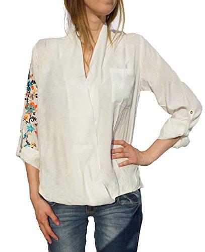 Laura Scott Damen-Bluse Bluse mit Stickerei Weiß Weiß