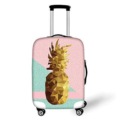 Travel Luggage Cover Suitcase Protector,Indie,Retro Summer Concept Pineapple Fruit in Poly Design Memphis,Light Pink Mint Green Light Brown,for TravelM 23.6x31.8Inch (Green Mint Light)