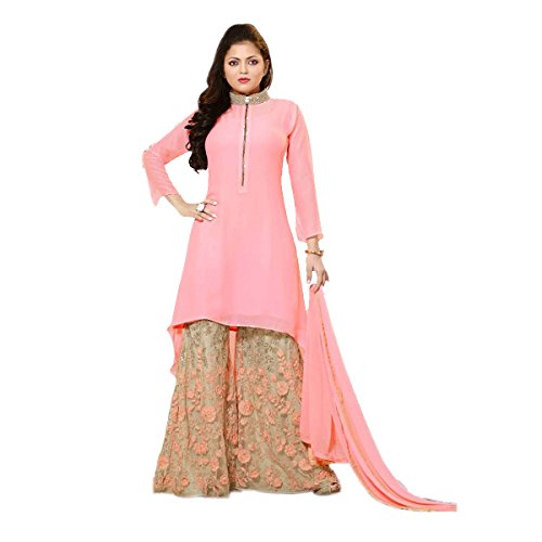 Ethnic Empire Women's Georgette Dress Material Salwar Suit Set (Eeas_Ea10709_Pink_Free Size)