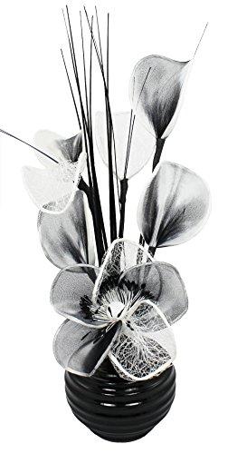 Flourish - Vaso con fiori finti, TW, 813, 32 cm, colore: Bianco/Nero