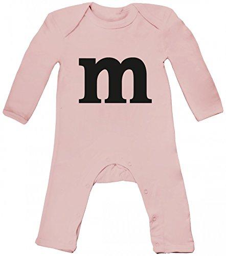 Schokoladen Schoko Fasching Karneval Baby Strampler Langarm Schlafanzug Jungen Mädchen Kostüm mit M Aufdruck, Größe: 3-6 Monate,Powder Pink -